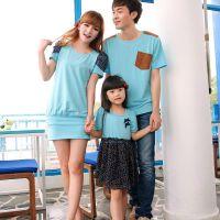 淘宝货源亲子装 2014年韩版夏款 条纹短袖纯棉圆领T恤 一件代发货