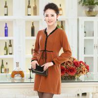 2014时尚秋冬新品女装 简约气质纯色圆领宽松长袖连衣裙针织裙