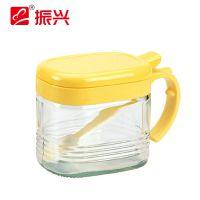 振兴 YH5996方型玻璃调味瓶 带勺子调料瓶 调味瓶 厨房收纳