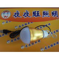 供应带USB插头LED球泡低压5V5W移动电源应急灯泡摆摊电脑小台灯