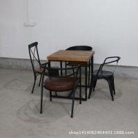 爆款美式乡村铁艺实木复古酒吧餐桌椅仿古咖啡桌椅小方桌餐桌椅