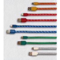 供应彩色编织小面条数据线充电线v8数据线三星华为手机usb数据线