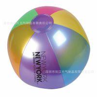 专业生产彩色丝印环保pvc充气沙滩球 直径45cm儿童透明充气彩色球