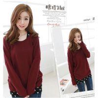 6804#秋装新款韩版超美可爱背后蝴蝶结蝙蝠袖两件套大码T恤打底衫