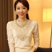 韩版女装20秋季新款珠宝装饰优雅衬衫蕾丝打底衫