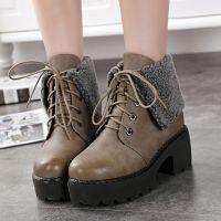 2014秋冬新款休闲系带潮靴圆头高跟毛绒保暖低筒靴