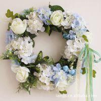 节日舞台装饰用花仿真绢花假花门头房门花环场地布置用花球别墅蓝