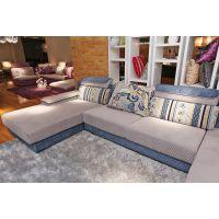 套房家具品牌--布艺沙发组合 现代简约转角贵妃沙发