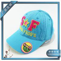 SF绣花全棉洗水童帽 儿童棒球帽 夏季防晒儿童鸭舌帽子洗水帽厂