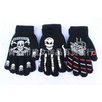 批发供应个性骷髅男士保暖加厚全指手套 胶印鬼爪五指手套