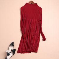 2014秋季新品 修身显瘦高领毛衣针织打底衫中长款褶皱长袖连衣裙