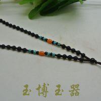 精编黑砭石绿松石珠子挂绳  特价玉器项链挂绳批发