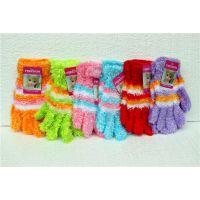 韩版新款女士五指手套毛线保暖加厚加绒 女士毛巾手套