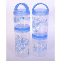 厂家直销 创意透明塑料手提密封罐 新款食品密封罐三件套青花
