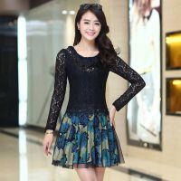 2014秋装新款女装 高品质碎花蕾丝优雅气质修身显瘦长袖连衣裙女