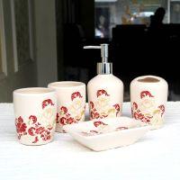 可爱花纹 陶瓷卫浴五件套 浴室用品洗漱套装漱口杯套件 新婚礼品