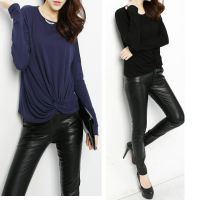 秋季新款 针织弹力宽松蝙蝠短款女式潮  打底衫 长袖t恤