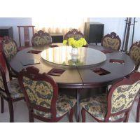 供应兰州电动餐桌火锅桌椅实木桌宴会圆桌 西安金德立家具