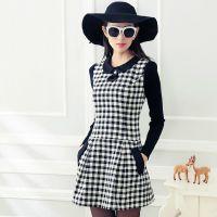 2014秋冬装新款女装欧美娃娃领套头修身长袖连衣裙冬季格子裙