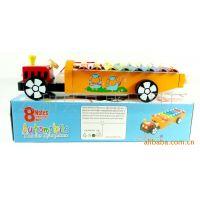 小额混批发木制玩具手敲木琴教具 老爷车火车头八音琴YX171