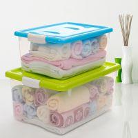 蜜蜜花透明塑料收纳箱2件套 防尘有盖整理箱衣物家居收纳盒