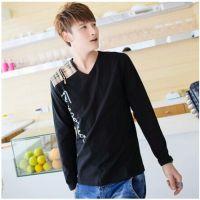 2014长袖韩版V领针织衫男士拉链拼接打底衫001甲L433