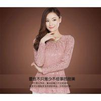 蕾丝衫打底衫女长袖春冬2013新款大码圆领短款雪纺衫