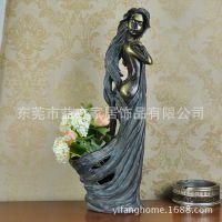 欧美风格仿古青铜美女花瓶摆件 树脂工艺品 婚庆新房装饰品