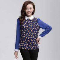 供应2014新 韩版拼色打底衫 春装新款中长款假二件套女衬衫
