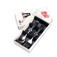 新款不锈钢彩盒便携勺筷餐具套装婚庆回礼品赠品印刷LOGO 2件套