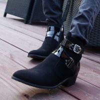 韩版男士休闲鞋英伦高帮鞋尖头磨砂皮鞋内增高男鞋子潮流马丁靴子