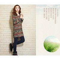 SC3045   日系森林系2014冬季新款 印花压棉中长款卫衣打底衫