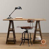 美式乡村实木复古做旧电脑桌工作办公桌时尚餐桌酒店咖啡桌椅
