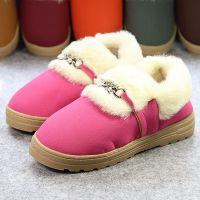 冬季毛口保暖棉拖鞋包跟男女金属链装饰 情侣室内居家棉鞋 月子鞋