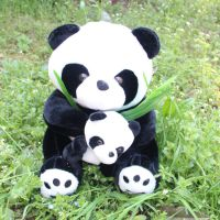 30cm卡通仿真母子竹叶熊猫公仔 毛绒玩具批发 毛绒玩具厂家直销