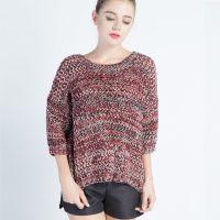 秋季新款大码欧美高端女装宽松休闲套头针织毛衫