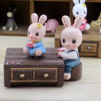可爱休闲兔旋转音乐盒礼品  创意迷你八音盒生日小礼物礼品