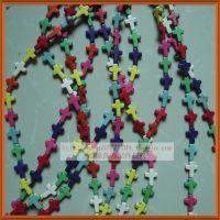 15mm十字架饰品配件 天然绿松石 diy隔珠首饰品材料批发 厂家直销