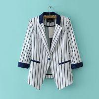 2014秋季女装条纹欧美修身小西服外套百搭一粒扣条纹西服D4-1622