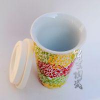 供应景德镇双层隔热骨瓷保温杯 带硅胶盖 星巴克随手咖啡杯20090