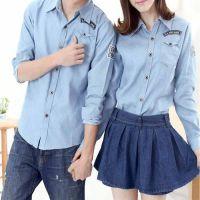 服装加工厂承接情侣装 牛仔衬衫来图来样加工