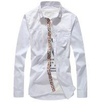 供应2014新款春秋男士长袖衬衫修身韩版衬衣男式潮款纯色棉打底衫上衣
