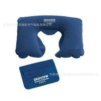 专业生产旅行气枕 u型充气枕头 航空植绒枕头护颈枕 户外野营睡枕