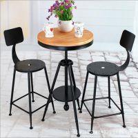 美式铁艺实木桌椅做旧复古餐桌椅户外休闲咖啡桌椅套装椅厂家直销