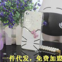 纯手工Kitty白色珍珠立体水钻手机壳 一件代发代理加盟夜市爆款女