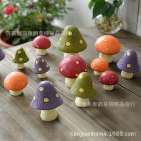 zakka森林系列蘑菇树脂家居小摆件 迷你三件套 拍摄道具 花盆摆件