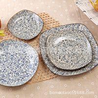 出口日式餐具釉下彩 手绘和风zakka 创意盘子方形四方菜盘 平盘