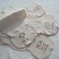 2015新款纯有机彩棉绣花卡通卡通吸汗巾 宝宝防感冒造型吸汗巾