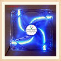 供应批发超静音机箱风扇14CM 14025透明四蓝光风扇 12V 1400转 含油