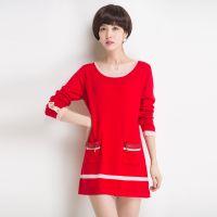 2014秋冬 时尚大红撞色拉链口袋中长款针织衫打底羊毛衫连衣裙 女